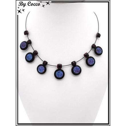 Collier - Mélange perles rondes / carrées - Bleu