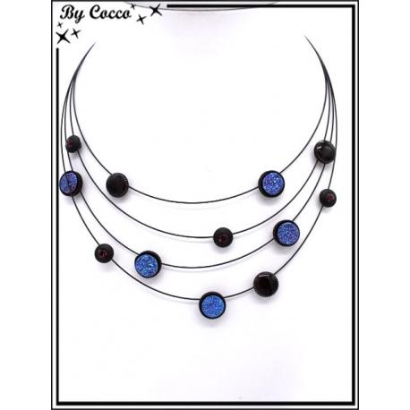 Collier - Quatre rangs - Mélange perles rondes - Tons bleu