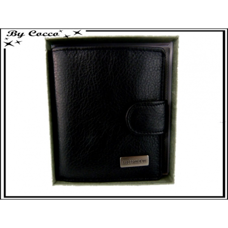 Petit Porte-monnaie carré cuir - Noir