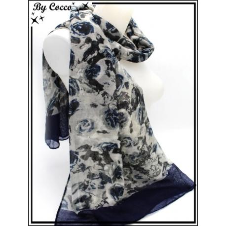 Foulard - Roses - Bordure - Bleu marine