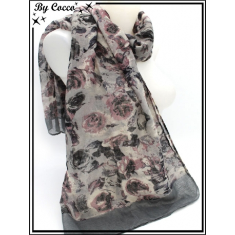 Foulard - Roses - Bordure - Gris