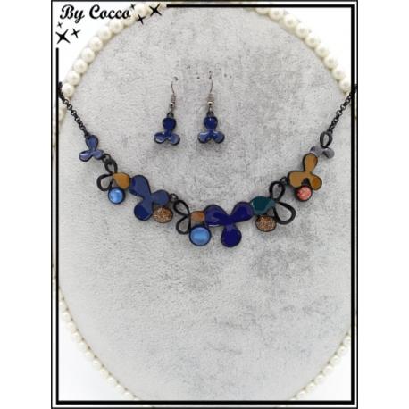 Parure - Métal - Fleurs 3 pétales - Tons bleus