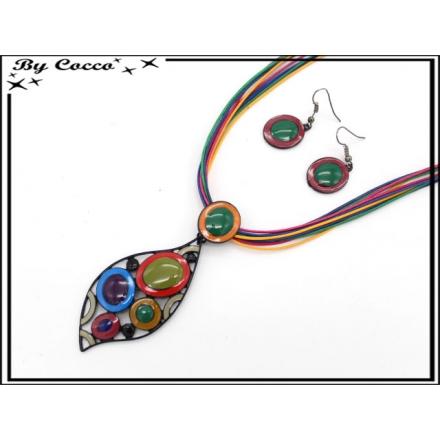 Parure - Cordon - Feuilles - Ronds - Multicolor