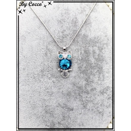 Collier fin - Chouette - Yeux brillants - Pierre bleues clair - Strass