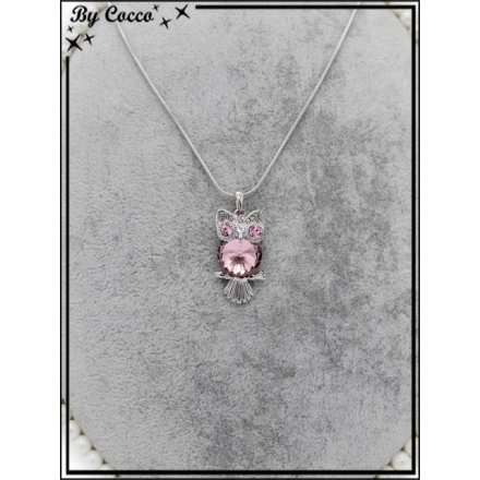 Collier fin - Chouette - Yeux brillants - Pierre rose - Strass