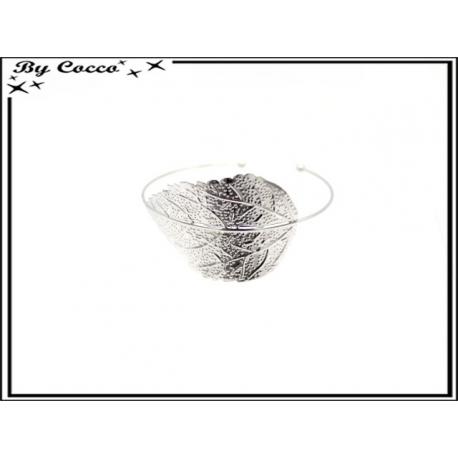 Bracelet jonc - Feuille - Argent