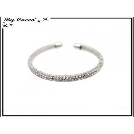 Bracelet - Strass - Moyen - Argent