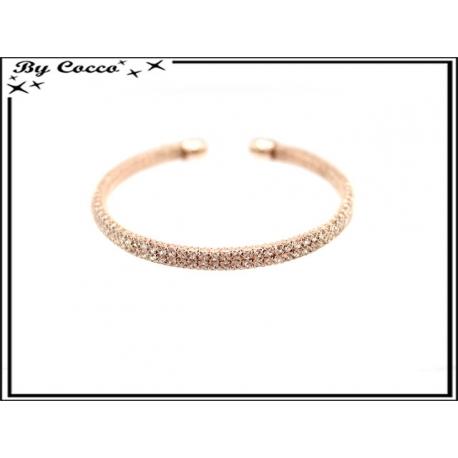 Bracelet - Strass - Moyen - Rose cuivré