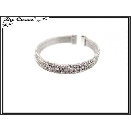Bracelet - Strass - Large - Argent