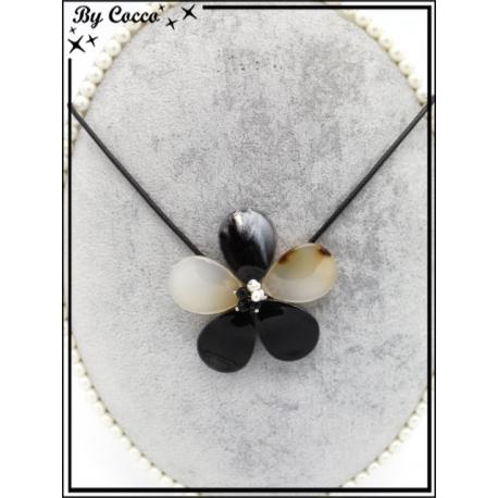 Collier - Résine - Fleur - Tons noirs