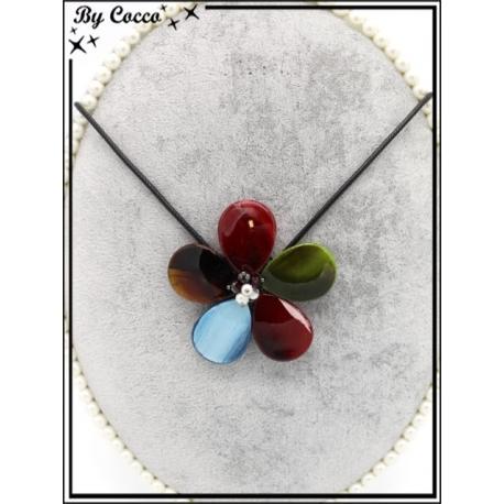 Collier - Résine - Fleur - Multicolor