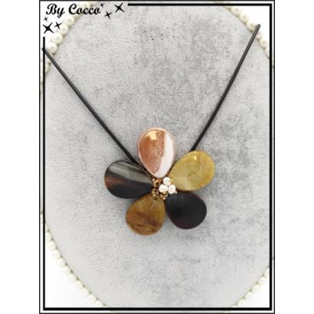 Collier - Résine - Fleur - Tons marrons