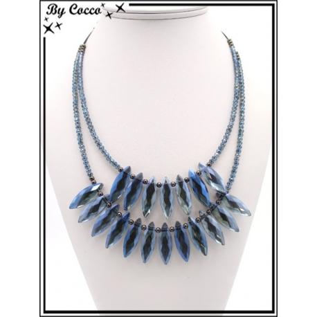 Collier - Double rangs - Perles ovales - Bleu