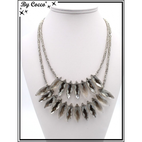 Collier - Double rangs - Perles ovales - Argent