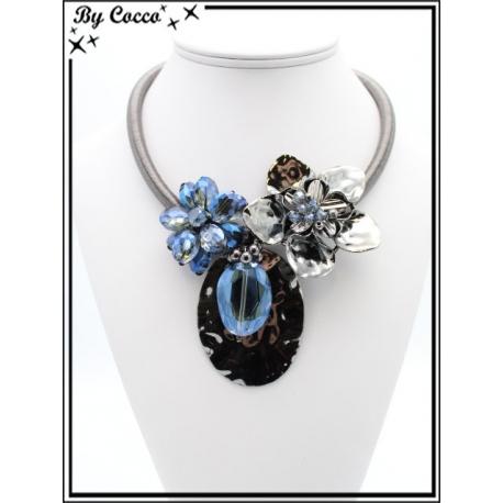 Collier - Perles - Fleurs - Bleu
