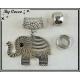 Bijou Elephant Argent + 2 Anneaux de Finition