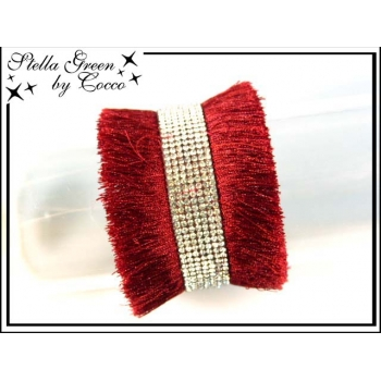Bracelet Stella Green Multi franges / Strass - Rouge