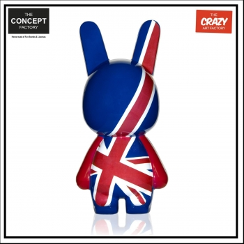 Figurine Lapin - Union Jack - Bleu Foncé - The Crazy Art Factory