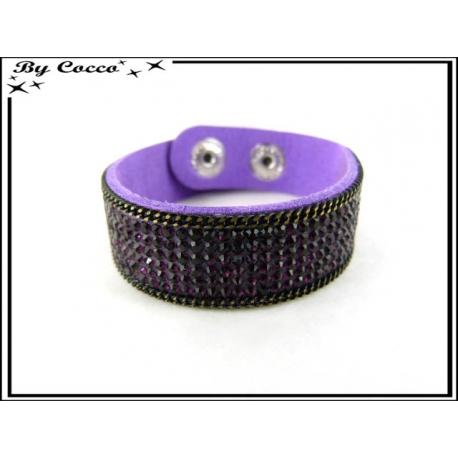 Bracelet - Perles - Strass - Chaînette - Violet