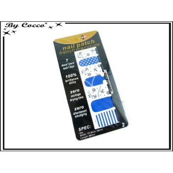 Patch ongles - Motif Marine - Bleu / Blanc