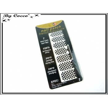 Patch ongles - Damier - Noir / Blanc