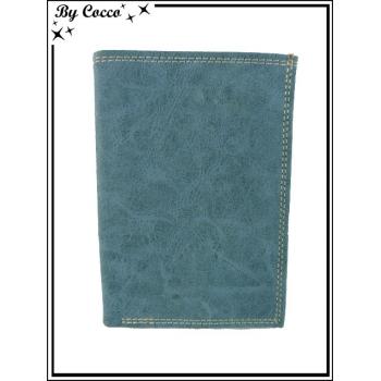 Portefeuille / Coutures apparentes / Aspect jean - Gris bleuté