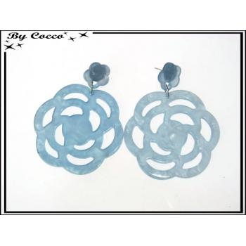 Boucles d'oreilles - Fleurs - Bleu pastel