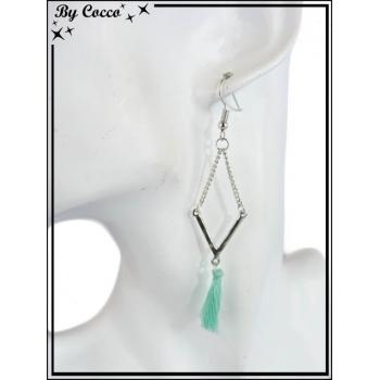 Boucles d'oreilles - Pompon - Losange - Vert d'eau
