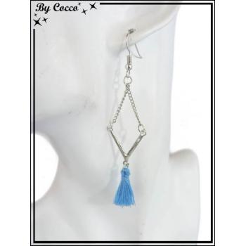 Boucles d'oreilles - Pompon - Losange - Bleu