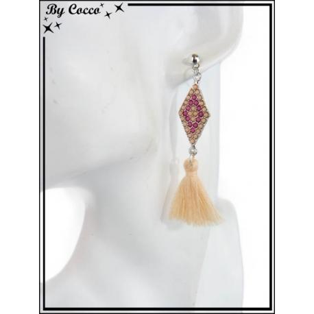 Boucles d'oreilles - Pompon - Losange - Perles - Beige