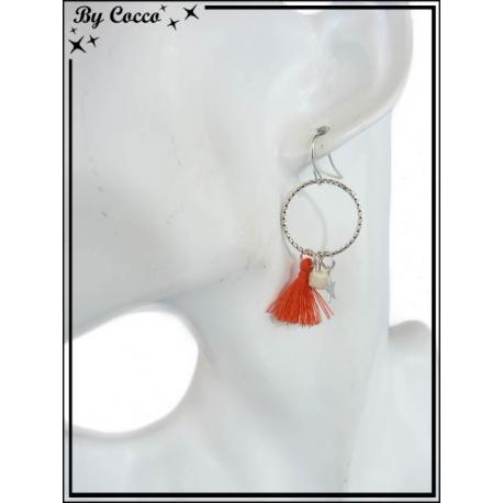 Boucles d'oreilles - Pompon - Perle - Etoile - Corail