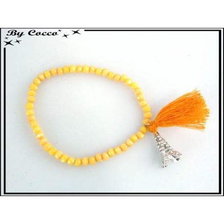 Bracelet - Stella Green - Pompon - Perles à facettes - Mate - Strass - Tour Eiffel - Orange