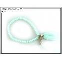 Bracelet - Stella Green - Pompon - Perles à facettes - Mate - Strass - Aile - Vert d'eau