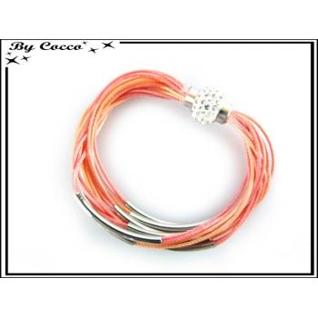 Bracelet - Stella Green - Multi rangs - Fermoir Strass - Orange / Rose