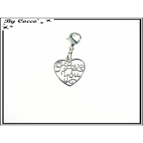 Charm - Coeur I love you - Argent