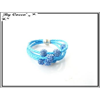 Bracelet multi-rangs - Boule strass - Bleu