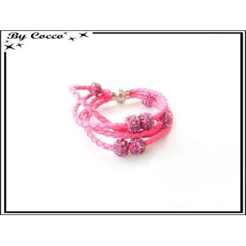 Bracelet multi-rangs - Boule strass - Fushia