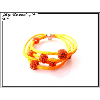 Bracelet multi-rangs - Boule strass - Orange