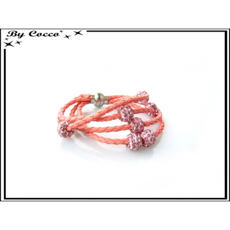 Bracelet multi-rangs - Boule strass - Rose poudré