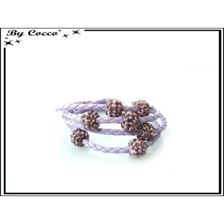 Bracelet multi-rangs - Boule strass - Violet