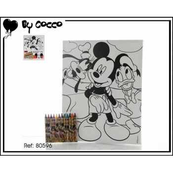 Tableau à colorier Mickey + 12 crayons cire