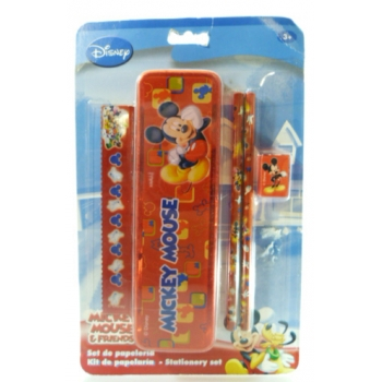 Mickey Trousse Rigide avec Crayons, Règle et Taille-Crayons
