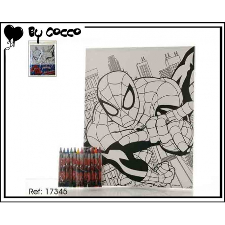 Tableau à Colorier Spiderman (12 crayons cire inclus)