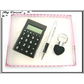Coffret Calculatrice - Stylo - Porte-clés - Noir