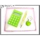 Coffret Calculatrice - Stylo - Porte-clés - Vert pomme