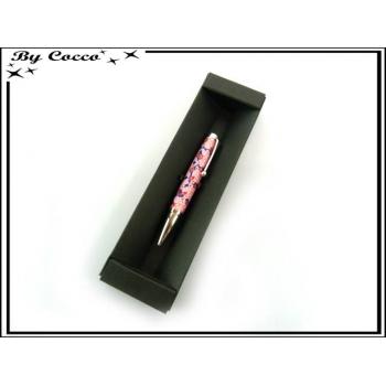 Coffret Petit Stylo bille - Fleurs - Rose