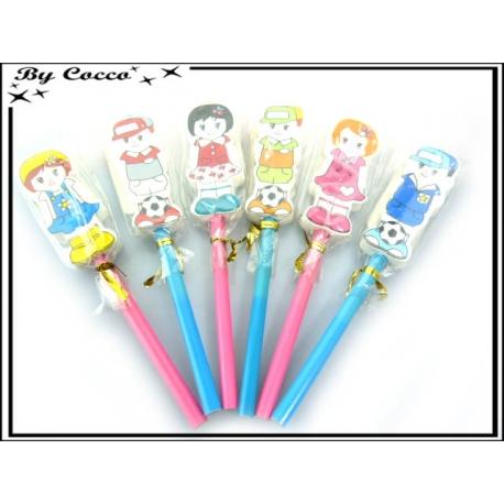 Crayons - Gommes - Enfants - Rose / Bleu x6