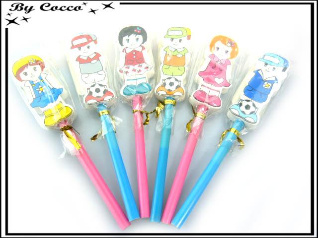 Crayons - Gommes - Enfants - Rose / Bleu x6 : Quantité:6