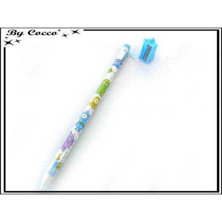 Crayon de papier géant + Taille-crayon - Petits monstres - Bleu