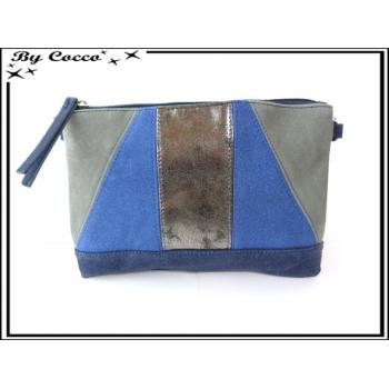 Pochette - Bi matière - Bleu / Gris